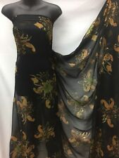Designer Chiffon Glitter Floral / Paisley Print   Black Base  Wedding Light