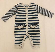 Debenhams 3-6 Months Boys Stripe Blue Grey Monkey Cute Baby Grow