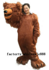 Halloween Long Fur Brown Bear Mascot Costume Suits Animal Adults Size Cosplay