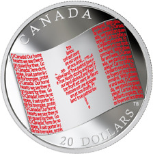 2018 Canadian Flag $20 1OZ Pure Silver Proof Coloured Coin: Anthem O-Canada