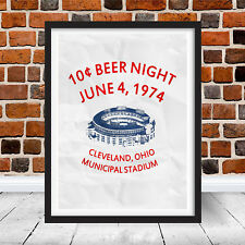 Vintage 10 Cent Beer Night Baseball Cleveland Indians Flyer Replica Poster Ten