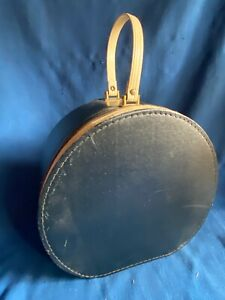Vintage Black White Round Suitcase Hat Box Wig Case Luggage Zipper Carrier Retro