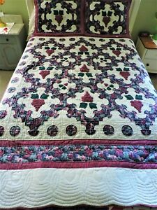 Gorgeous Hand Made Quilt With Two Pillow Shams and Dust Ruffle Queen