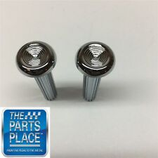 1968-70 GM Cars Chrome Ribbed Door Lock Knobs - Pair