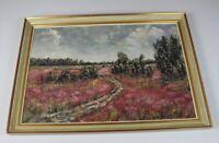 A4/ Öl auf Holz - Landschaftsbild , Bäume + Natur + Feldweg gerahmt - 63x45 /H5