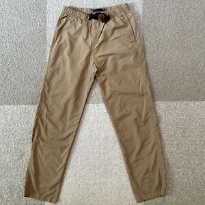Gramicci Hiking Climbing Pants Mens Medium Tan Elastic Waist Belted Nylon Pocket