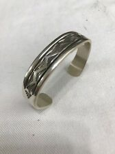 "Navajo Sterling Silver .925 1/2"" Wide Tooled Cuff Bracelet By Bruce Morgan"
