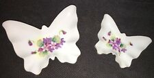 Set 2- Vintage Porcelain Butterfly Shape Rose Nesting Dishes Trinket Boxes Bowls