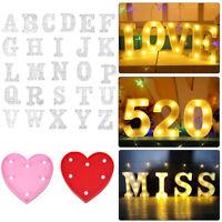 Alphabet 26 Letters Lights LED Light Up White Warm Plastic Standing Hanging A-Z