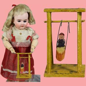 Sweet Little Antique German Erzgebirge Doll Size Toy Wood Swing!