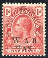 1917 Turks & Caicos Island War Stamp Opt.  SC#MR10 A1O 1p Carmine MHOG
