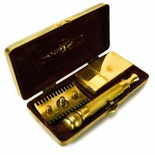 Gillette Open Comb Three Piece Razor Ball Gold Case Old-Type Antique Vintage