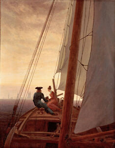 Oil painting caspar david friedrich - Young lovers on the sailing boat landscape