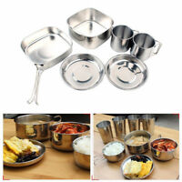 6pcs Stainless Steel Pots Pans Bowls Hiking Cooking Tableware For Camping Set