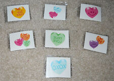 Lot of 12 glitter conversation heart temporary children's tattoos party favor