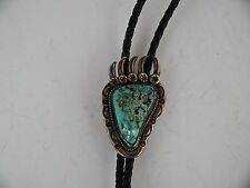 Old Native American, Navajo with rustic Turquoise nugget, bear claw bolo tie