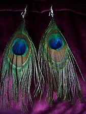 "Genuine peacock feather earrings 4"" long - Clip-on by Request - HANDMADE"