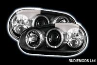 VW Golf Mk4 98-04 Black Twin Angel Eye Headlights and Built in Fog Lights
