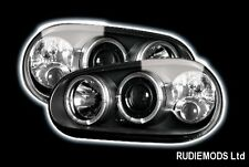VW Golf Mk4 98-04 Black Twin Angel Eye Headlights and Built in Fog Lights