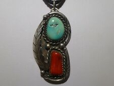 Turquoise Red Coral Pendant Sterling Silver 1940 Unsigned Old Pawn Fred Harvey