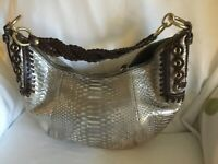 Coach silver metallic snake embossed hobo with brown braided leather trim
