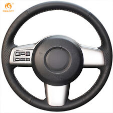 MEWANT DIY Black Leather Steering Wheel Cover for Mazda 2 2008-2014