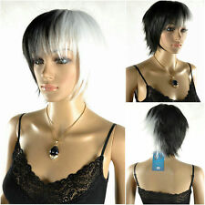 Latest New Short Black & White Woman's Like real hair Wig +free wig cap