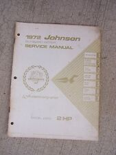 1972 Johnson Outboard Motor 2 HP Model 2R72 Service Manual Marine Boat Engine R