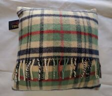 Pure New Wool Cottage Blue Cushion - Navy, Green and Red