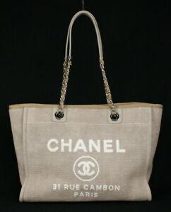 CHANEL Sand Beige Canvas White Logo Small DEAUVILLE Shopper Tote Bag
