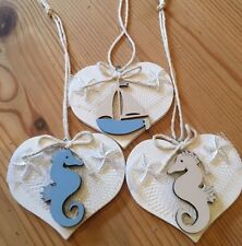 Nautical Hanging Decorations X 3 Shabby Chic Real Wood Heart Boat Seahorse