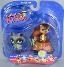 2006 LITTLEST PET SHOP Pairs SWEET N NEAT RACCOON And SQUIRREL Log 195 196 NEW
