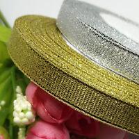 Gold/Silver Sheer Organza Ribbon Wedding Party Decor Hand Making Diy Craft