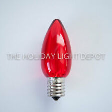 Box of 25 Red C9 LED Christmas Light Bulbs - Red C9 Smooth LED Bulb - Dimmable