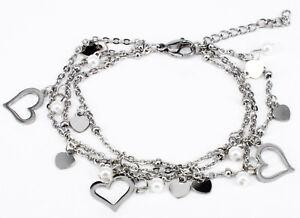 Edelstahl Damen Armband Silber Armkette Herz Bettelarmband Perlen 19cm Liebe