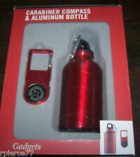 RED CARABINER COMPASS & 12 OUNCE ALUMINUM BOTTLE SET.  GREAT FOR BIKING, HIKING!