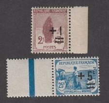 France -Timbres Neufs -Orphelins surchargés N° 162 et 165 ** Bord de feuille -TB