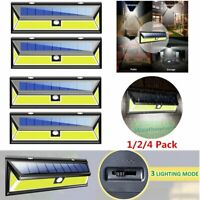 1/2/4X 180 COB LED Solar Powered Wall Light Motion Sensor Outdoor Garden Lamp