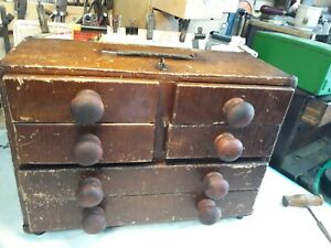 Vintage Wood Fairey Aircraft Engineer made 6 Drawer Cabinet Toolbox Chest box
