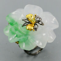 Green Jade Ring Silver 925 Sterling Handmade SET50ct+ Size 8.5 /R130346