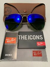 Ray-Ban Aviator Sunglasses RB3026 62-14mm 112/17 Gold Frame & Blue Mirror Lenses