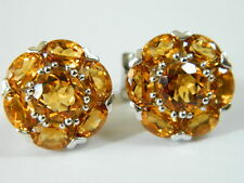 GORGEOUS 14K GOLD OMEGA BACK STUD ROUND EARRINGS WITH  CITRINE CZ STONES #0684