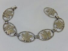 "VINTAGE SIGNED DCJ  STERLING SILVER MAPLE LEAF 7 1/4"" PANEL  BRACELET IN EVC"