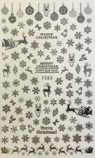 Nail Art 3D Decal Stickers Silver Snowflakes Bells Santa Reindeer Christmas F283