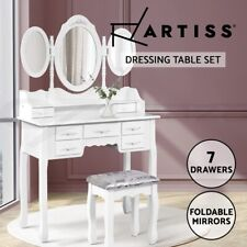 Dressing Table Jewellery Cabinet Organizer with Mirror & Stool 7 Drawer White