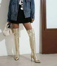 Fashion Women Pointy Toe Stilettos High Heels Over The Boots Lady Pull On Shoes