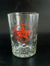 VINTAGE 60s Singapore CALTEX Petrol Oil red star logo short glass dotted base