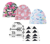 5 Pack Baby Beanies Girl Pink Infant Caps Arrows Floral Hats Newborn Beanie Cap