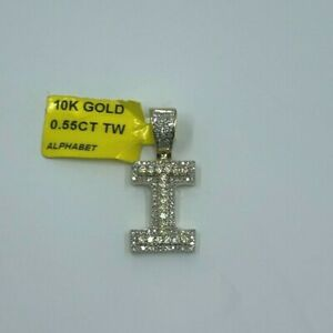 Natural Diamond 0.55 CT Initial Letter I Jewelry Pendant in 10 K Yellow Gold