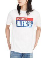 Tommy Hilfiger Mens T-Shirt White Blue Size 2XL Block Logo Crewneck Tee $39- 318